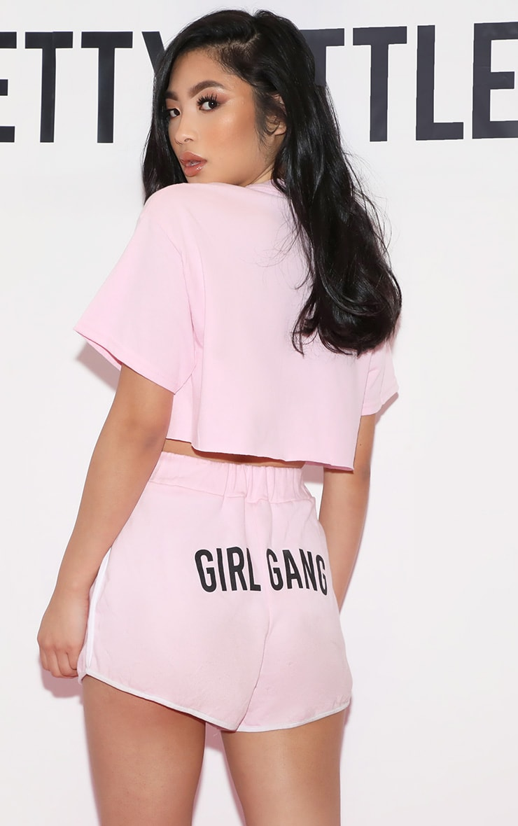 Girl Gang Cropped T Shirt Baby Pink 3