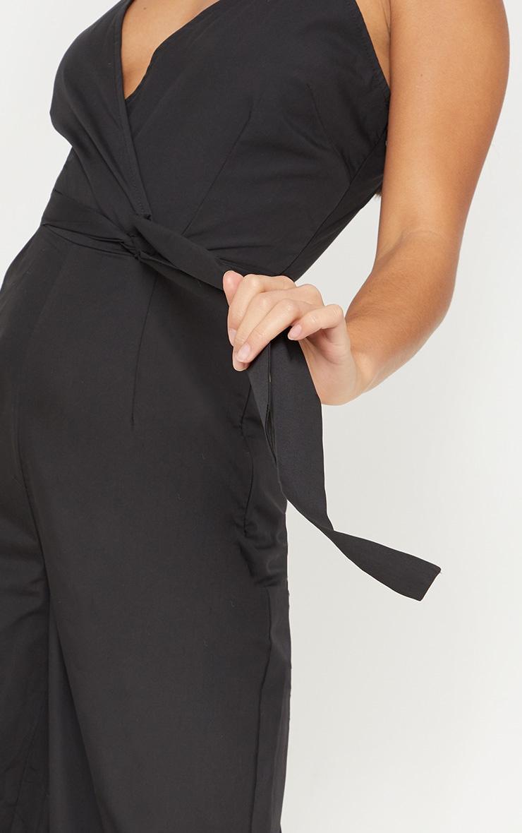 Petite Black Strappy Tie Waist Jumpsuit  5