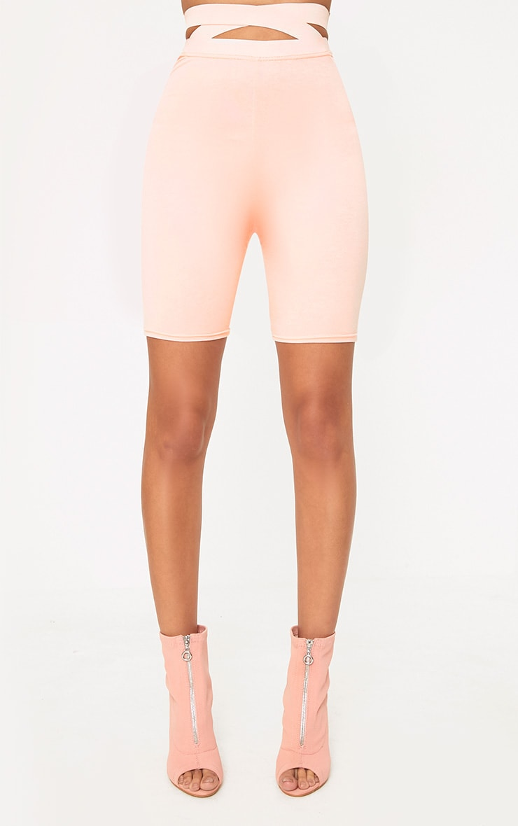Nude Strappy Waist Cycle Shorts 2