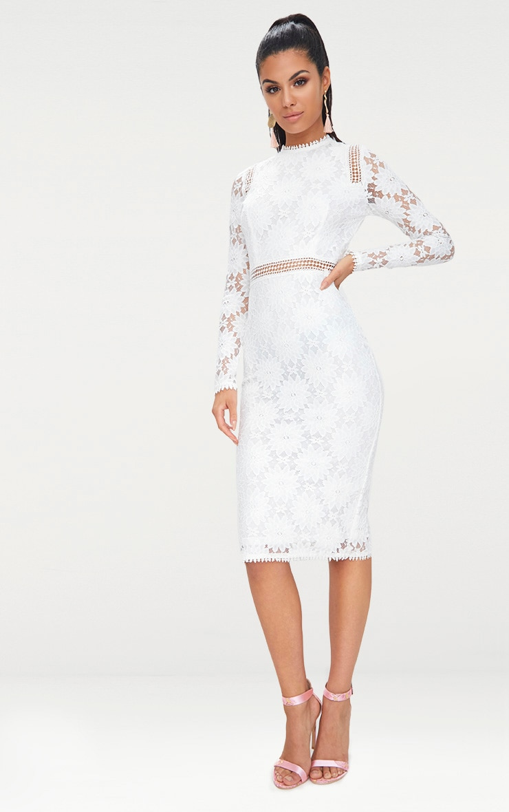 Caris White Long Sleeve Lace Bodycon Dress 1