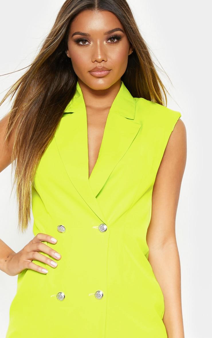 Lime Sleeveless Button Detail Bodycon Dress 5
