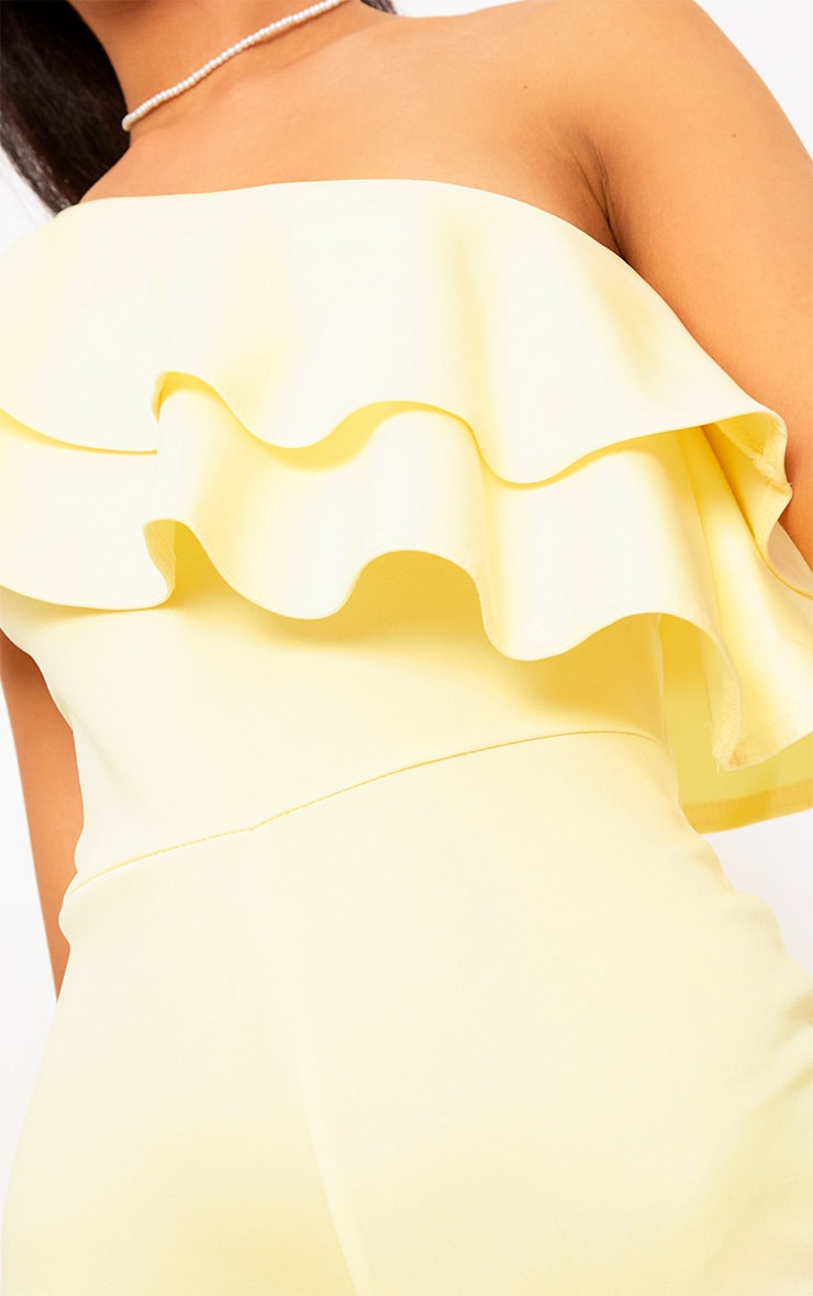 Yellow One Shoulder Frill Detail Playsuit 5