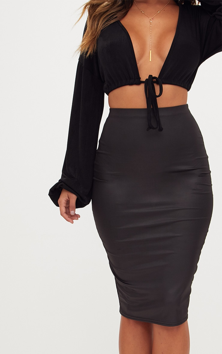 Black Leather Look Midi Skirt 5