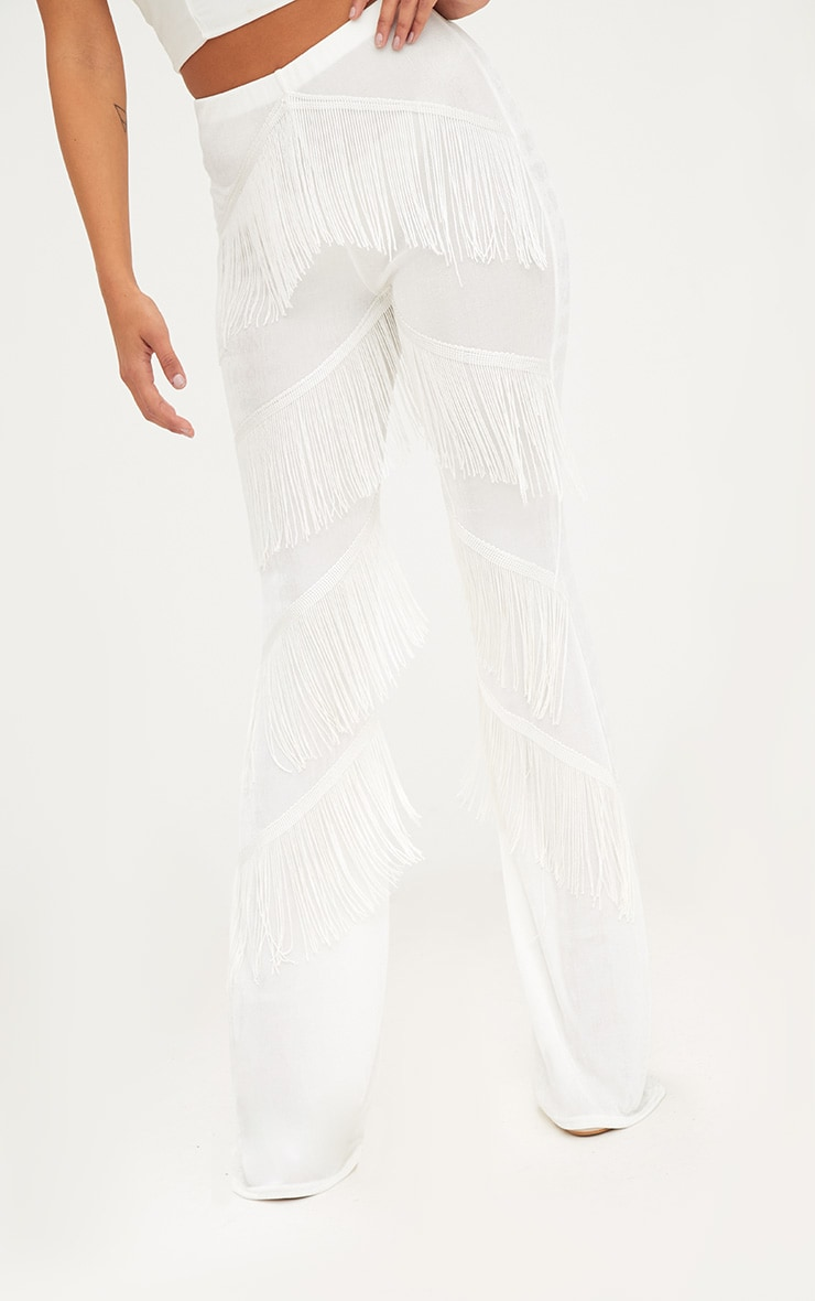 White Slinky Tiered Fringe Flared Trousers 5
