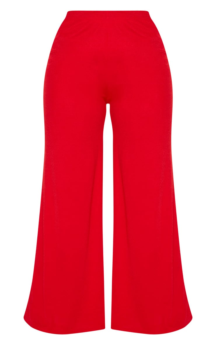 Plus Red Crepe Wide Leg Pants 3
