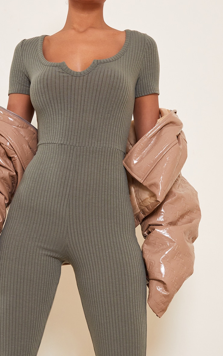 Khaki Rib V Detail Short Sleeve Jumpsuit 4