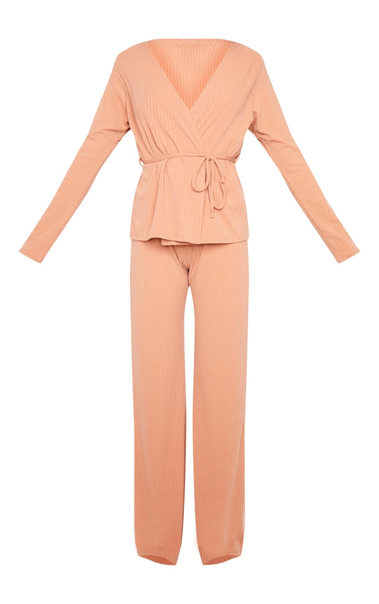 Peach Wrap Cardi And Wide Leg Knitted Lounge Set 6