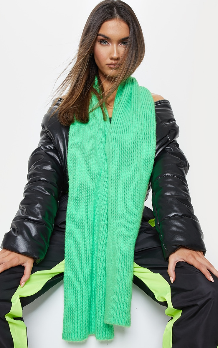Green Neon Ribbed Knit Scarf 1