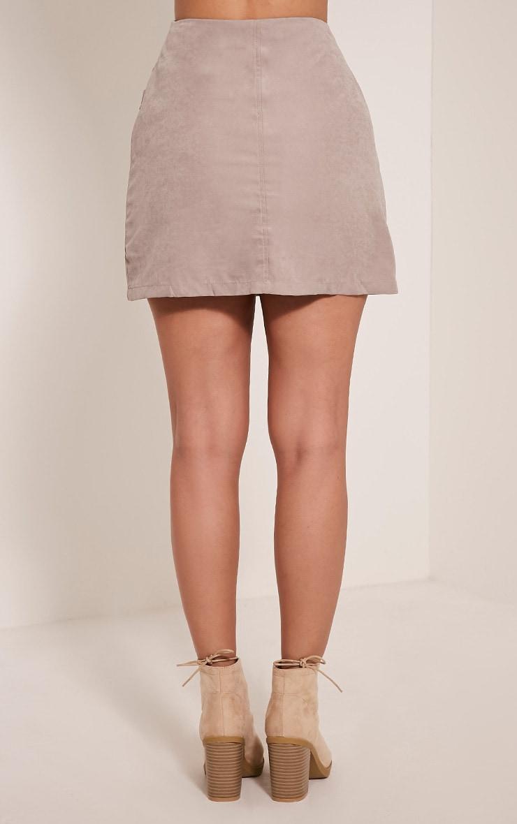 Lottie Grey Faux Suede Pocket Front Mini Skirt 5