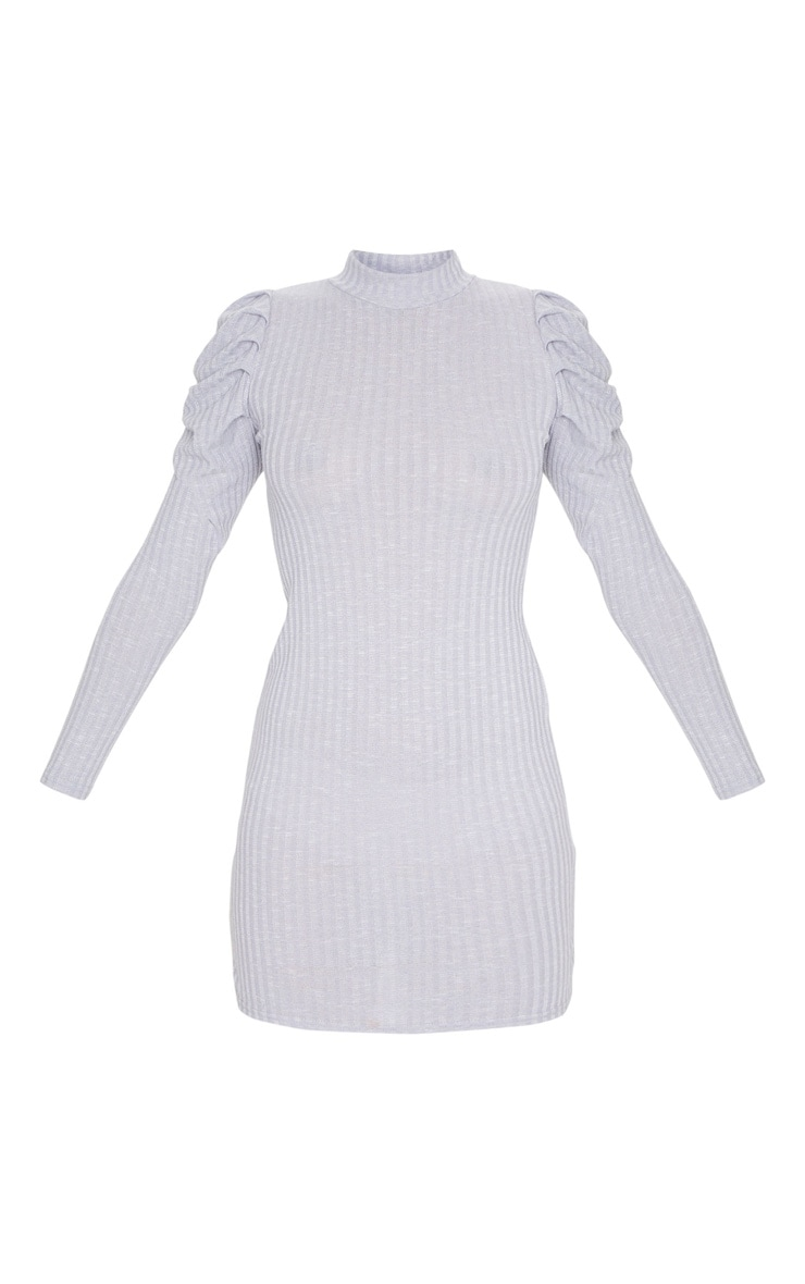 Grey Puff Shoulder Funnel Neck Rib Knitted Dress 5