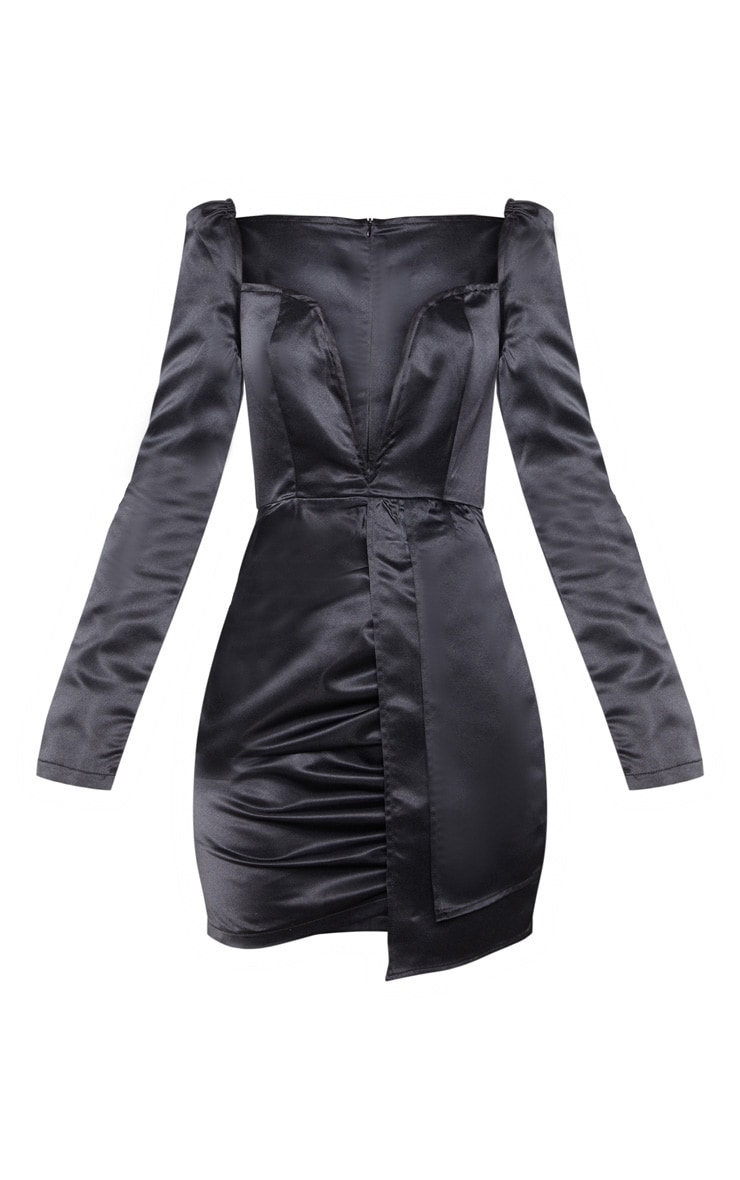 Black Satin V Bar Drape Bodycon Dress 3