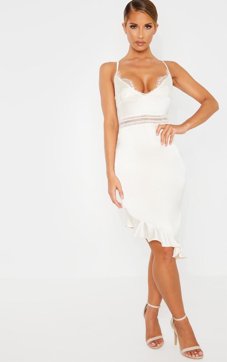 Champagne Lace Detail Asymmetric Hem Midi Dress 1