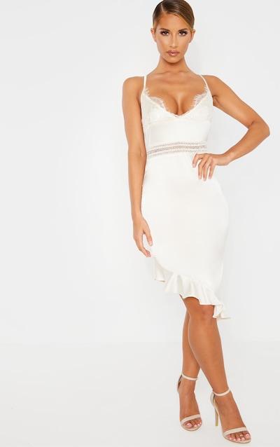 cb764a097b95 Champagne Lace Detail Asymmetric Hem Midi Dress