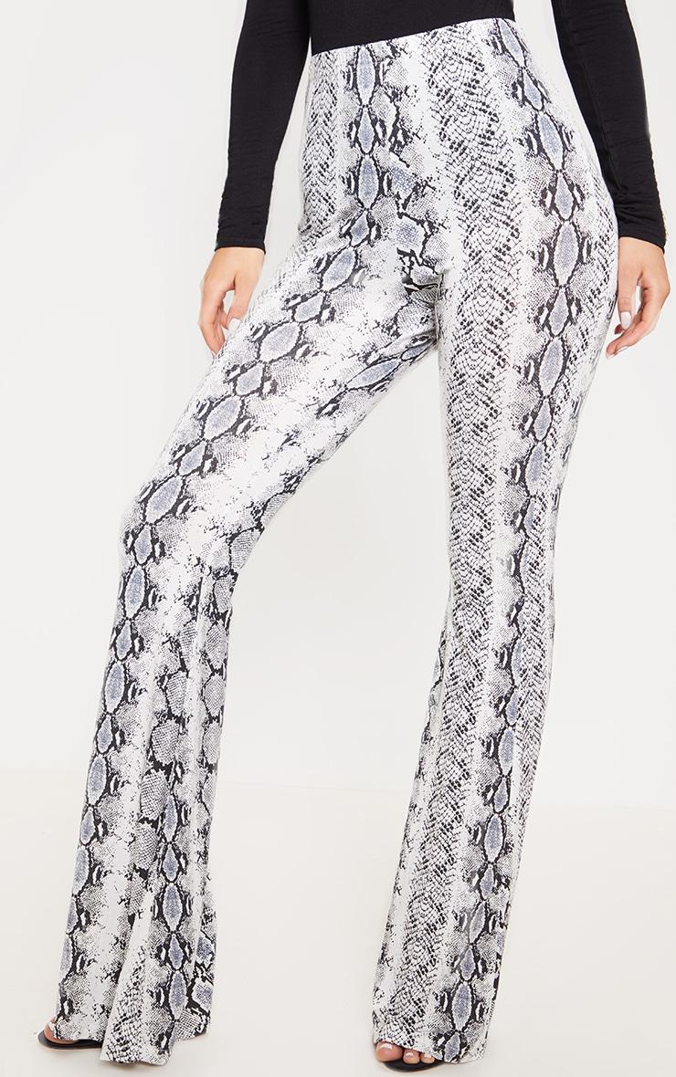 Black Snake Print Flare Leg Trouser 2