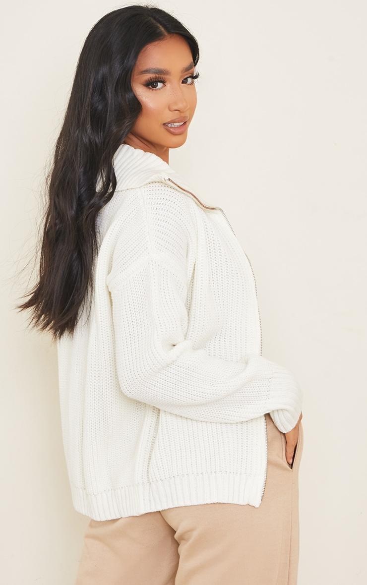 Petite Cream Knitted Zip Through High Neck Jumper 2