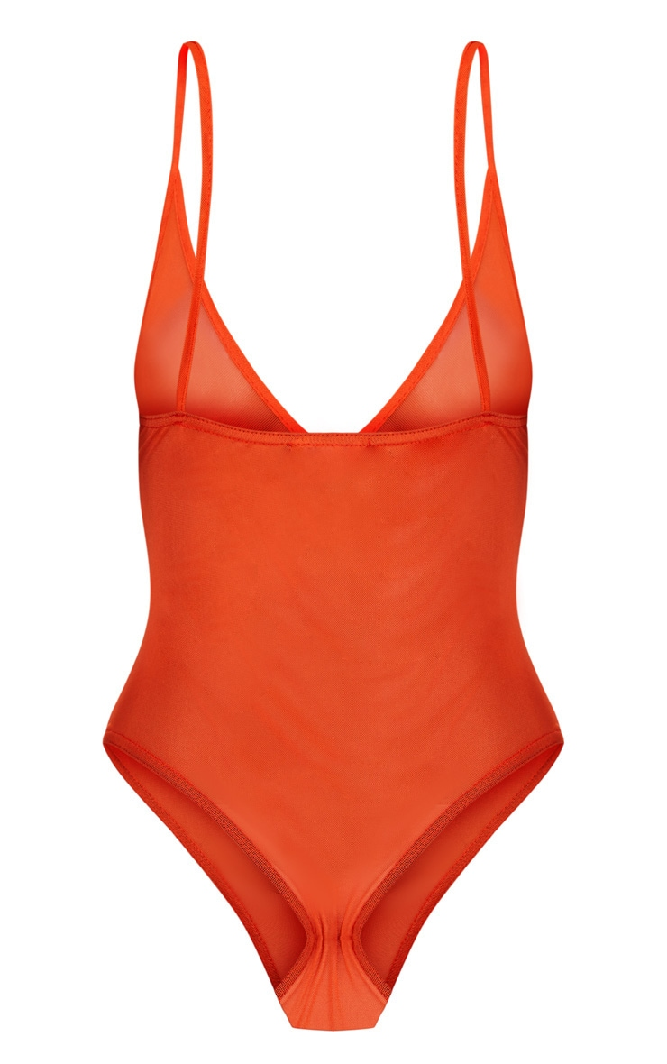 Orange Mesh Zip Front Thong Bodysuit 4