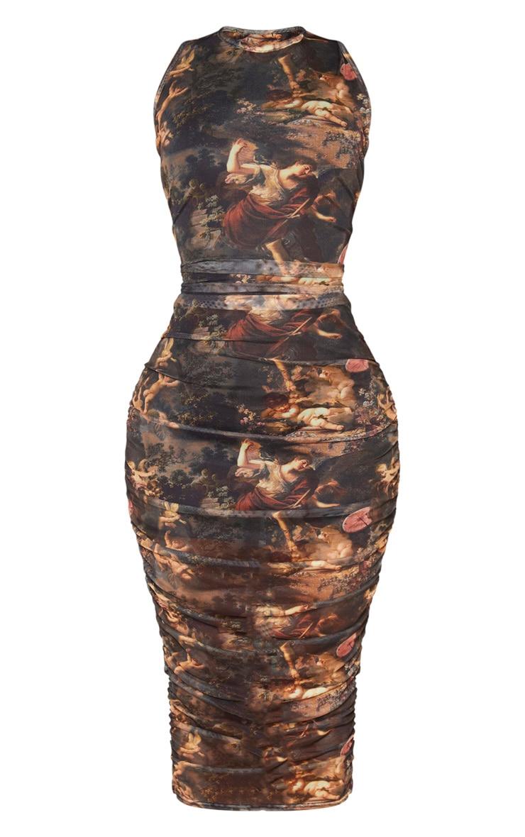Shape Brown Renaissance Print Sleeveless Midi Dress 5