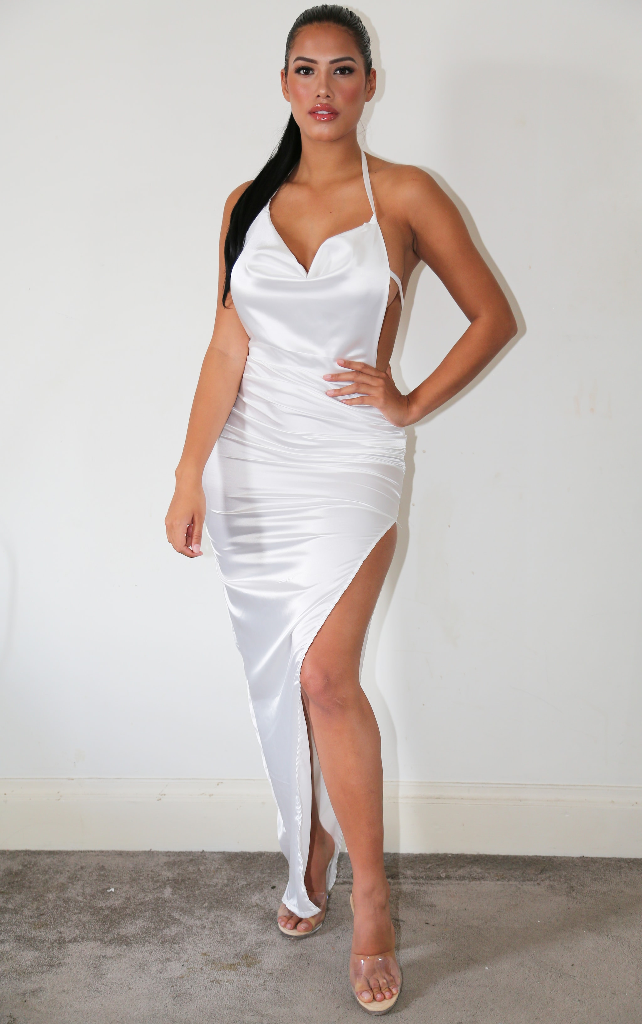 Shape White Satin Cowl Neck Ruched Maxi Dress 1