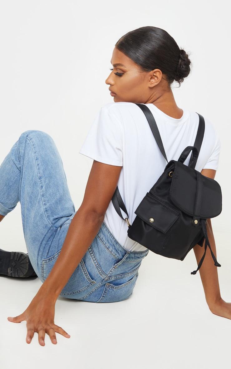 Black Nylon Double Pocket Backpack 1