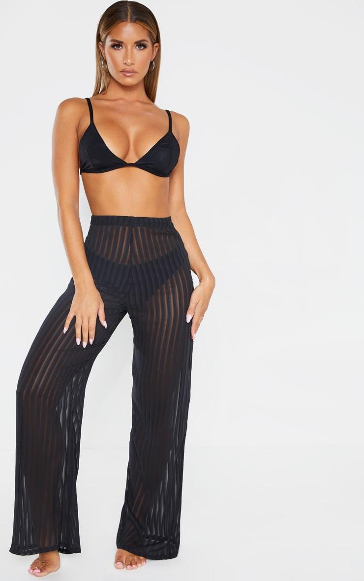 Black Sheer Stripe Wide Leg Beach Pants 1