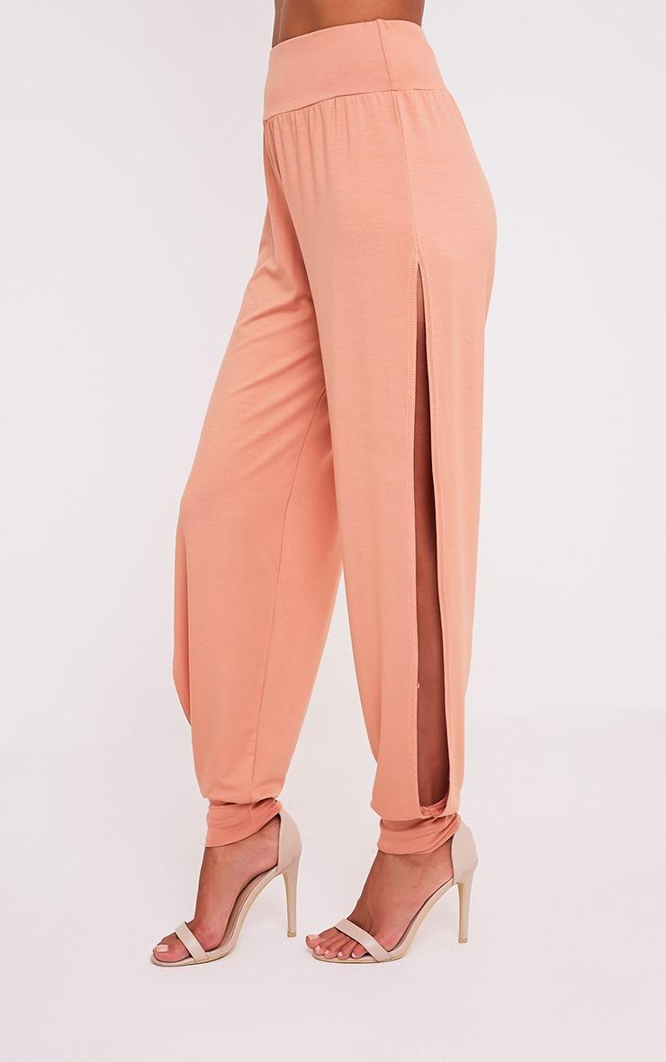 Chasity Peach Split Side Jersey Trousers 4