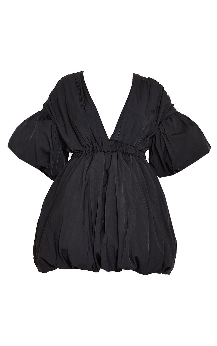 Black Puff Sleeve Puffball Hem Shift Dress 5