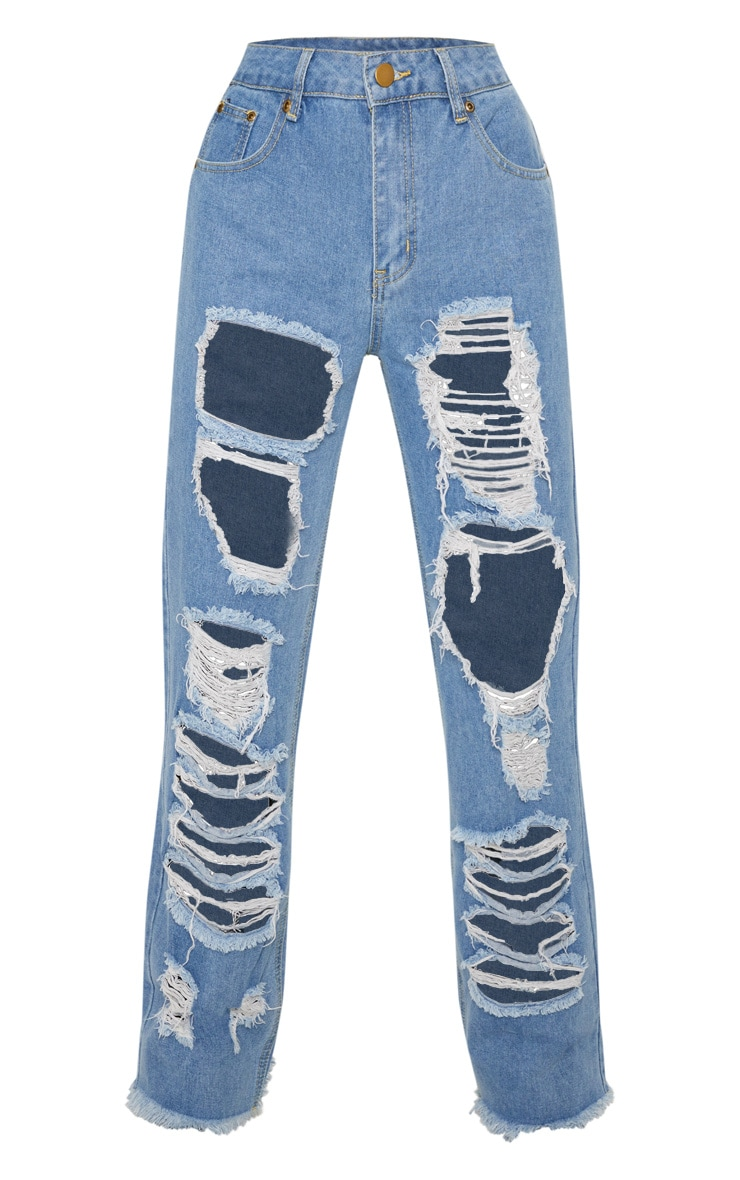 Mid Wash Extreme Rip Wide Leg Jeans 3