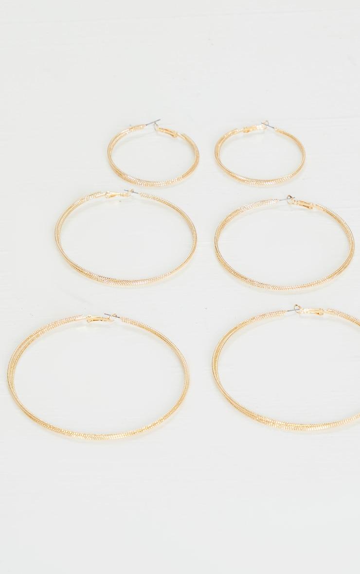 Gold Mixed Textured Medium Hoop 3 Pack 2