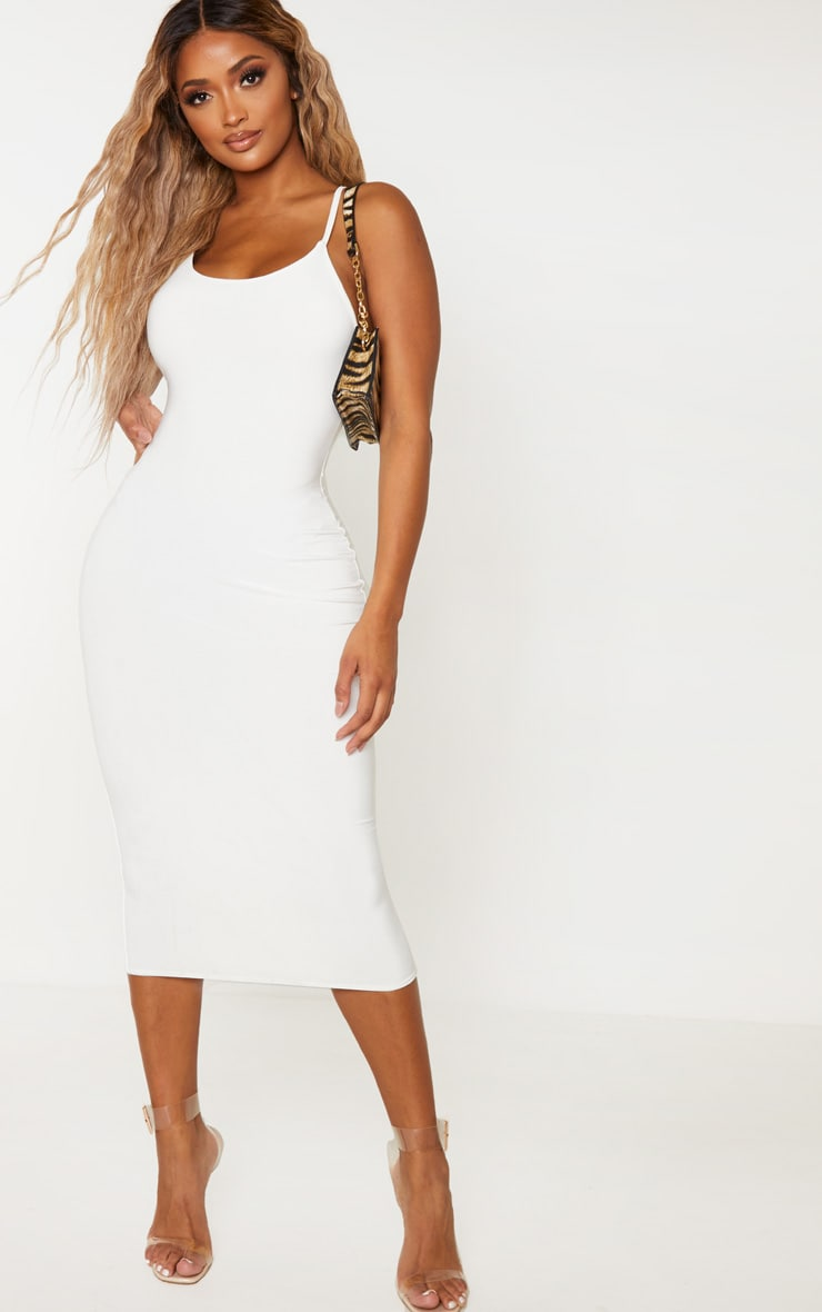 Shape Cream Slinky Ruching Black Strappy Midi Dress