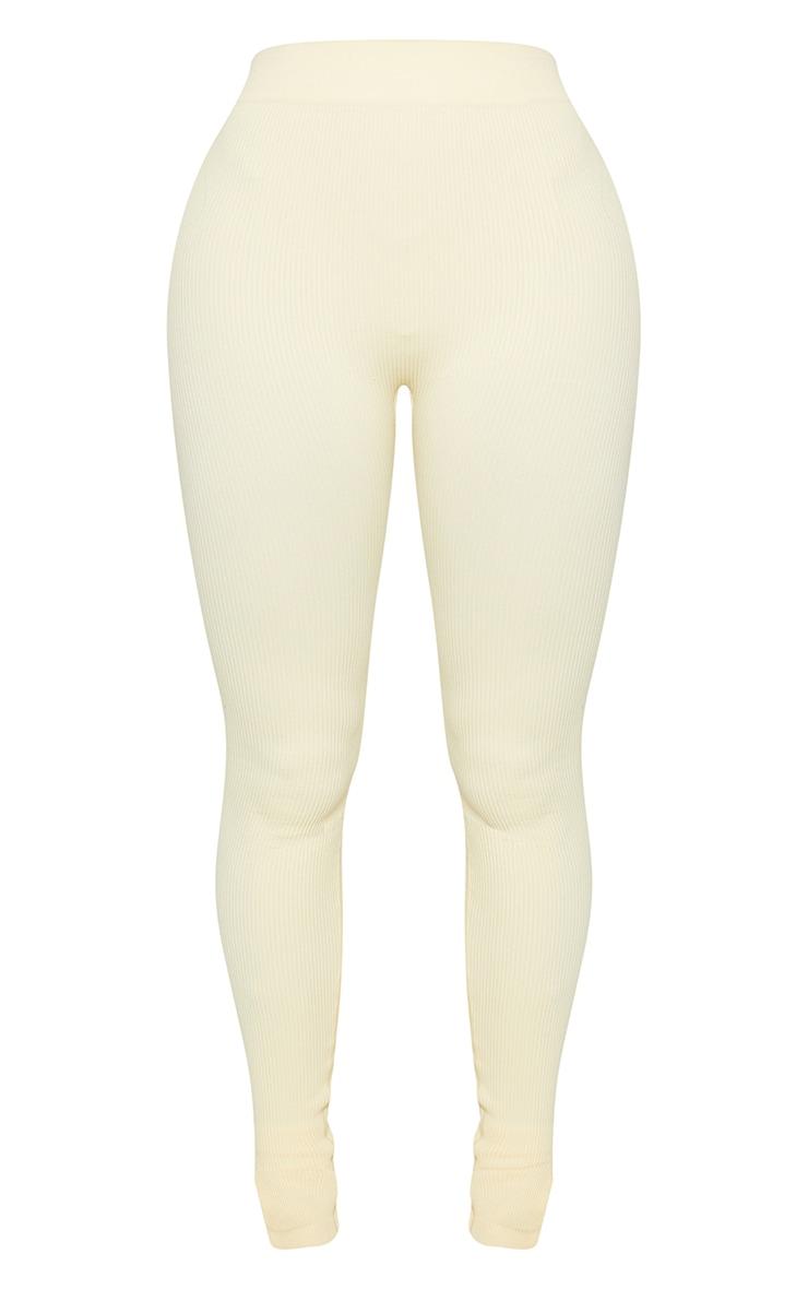 Shape Cream Contour Ribbed Split Hem Leggings 5