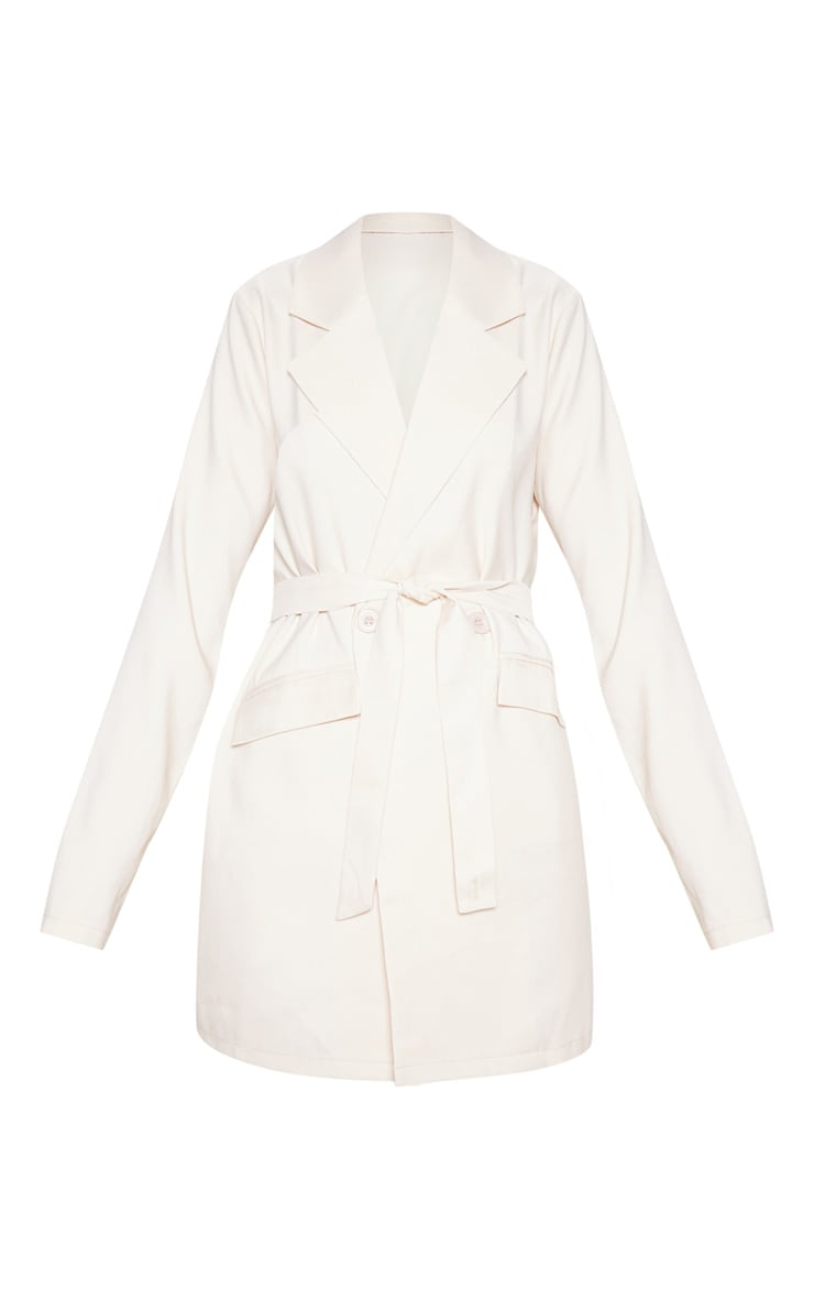 Ivory Tie Front Woven Blazer 3