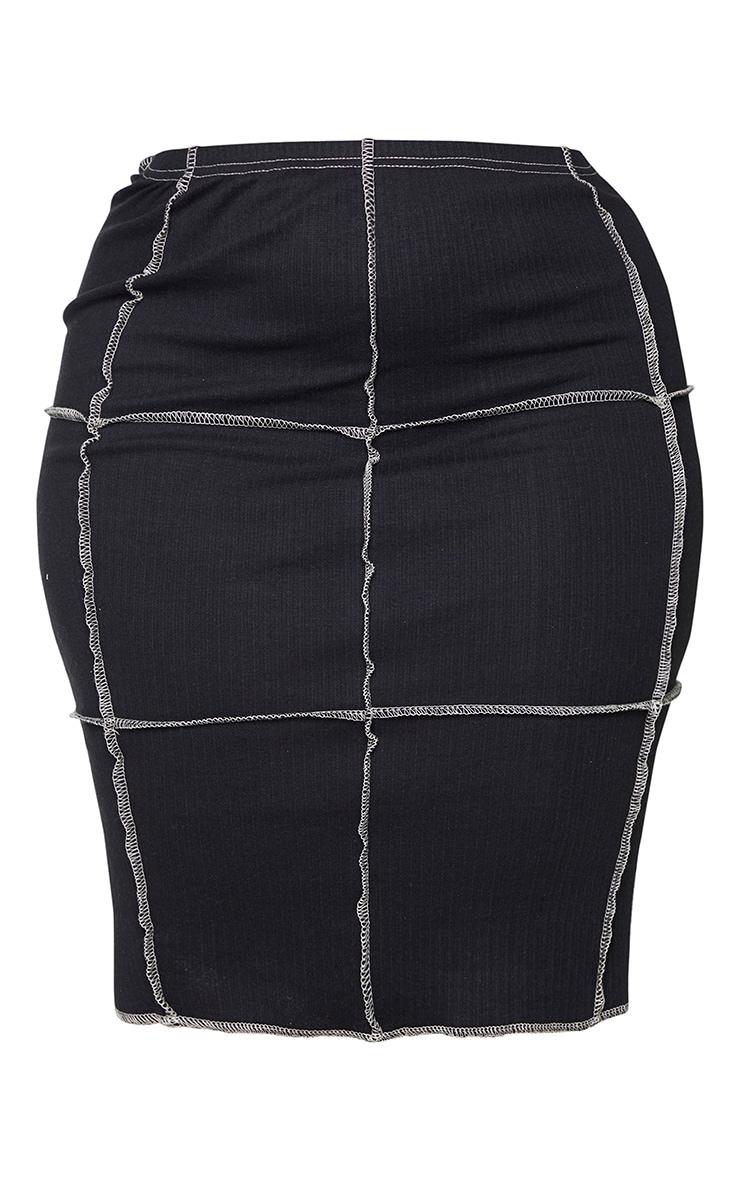 Plus Black Contrast Rib Midi Skirt 6