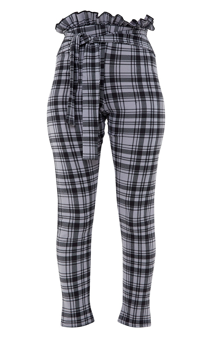 Grey Check Paperbag Skinny Trousers 3