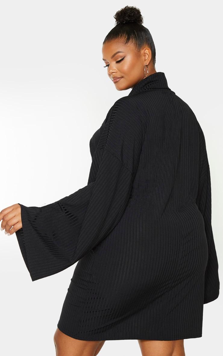 Plus Black Wide Rib High Neck Oversized Jumper Dress 2