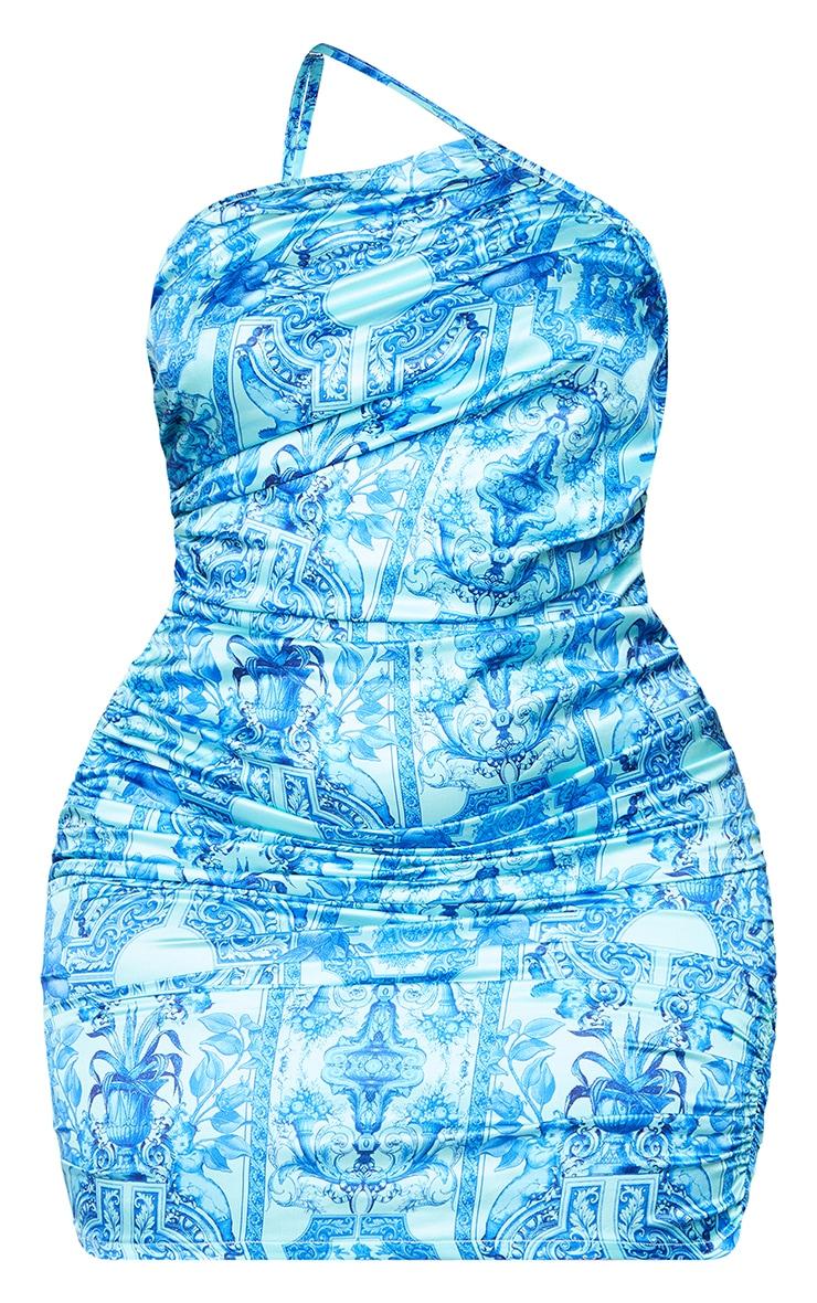 Plus Blue Tile Print Satin Asymmetric Bodycon Dress 5