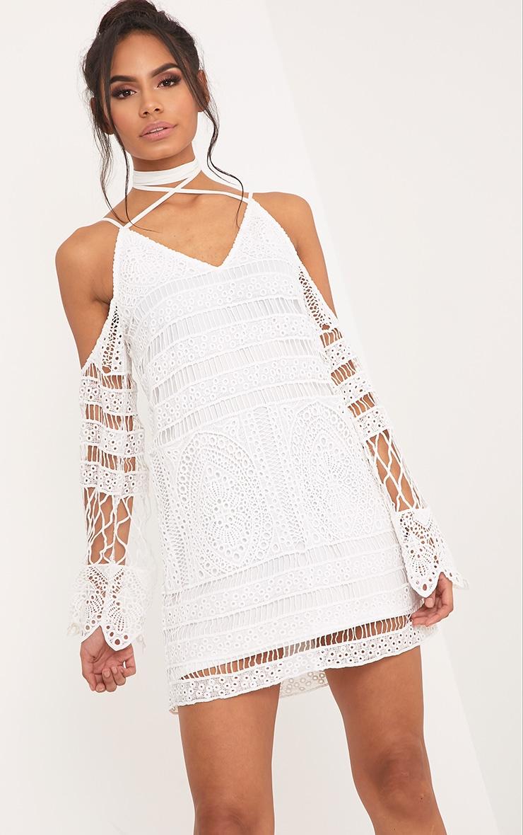 Nina White Lace Cold Shoulder Tie Neck Shift Dress 1