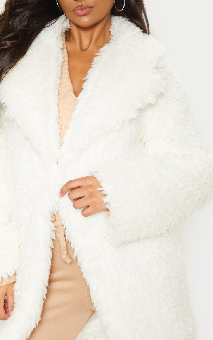 White Teddy Faux Fur Coat 5