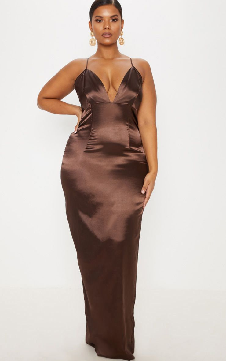 ebfc4e5b7890 Plus Chocolate Brown Satin Strappy Maxi Dress image 1