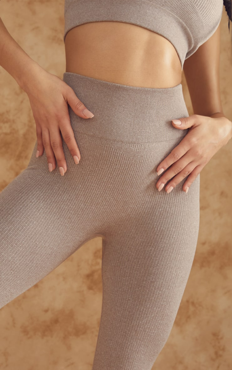 Taupe Marl Ribbed Seamless High Waist Gym Leggings 4