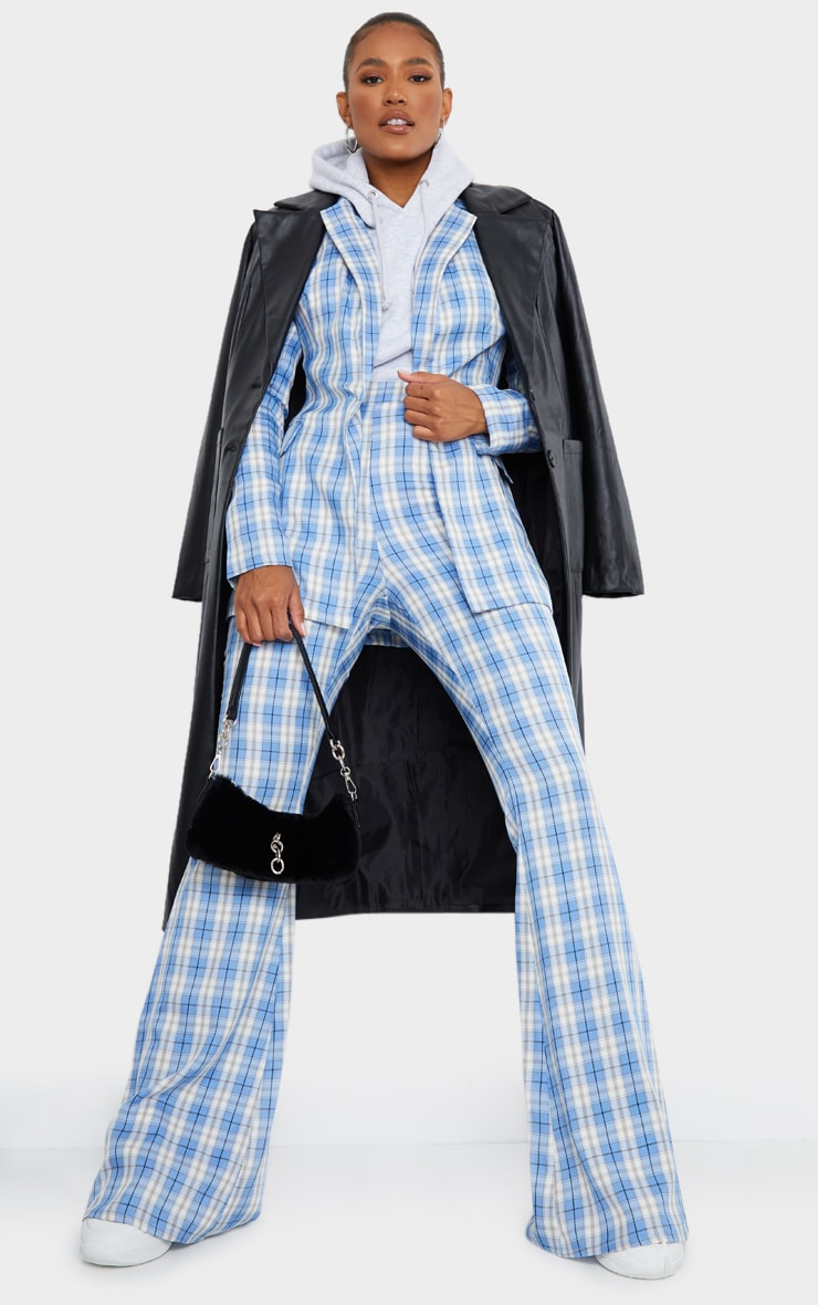 Light Blue Check Print Extreme Flare Trousers 1