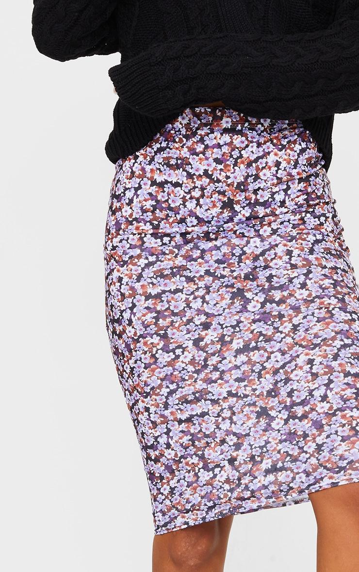 Black Floral Printed Midi Skirt 4