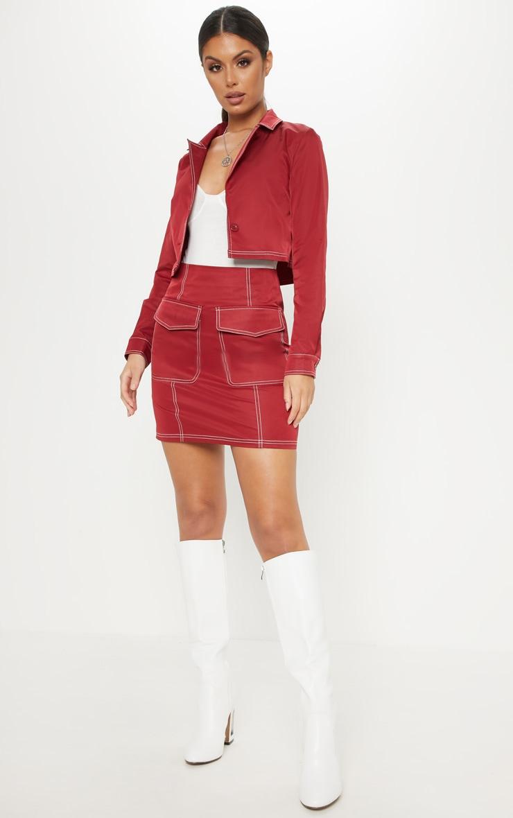 Burgundy Contrast Stitch Pocket Detail Mini Skirt