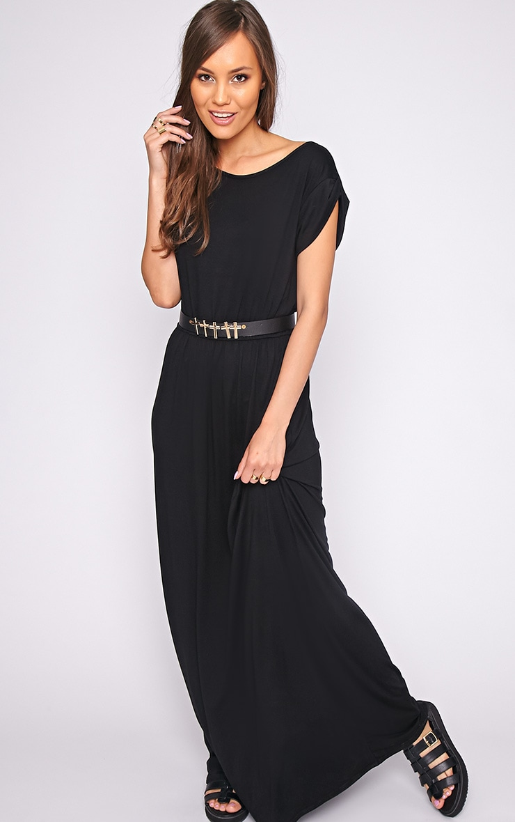 Liberty Black Tshirt Maxi Dress 3
