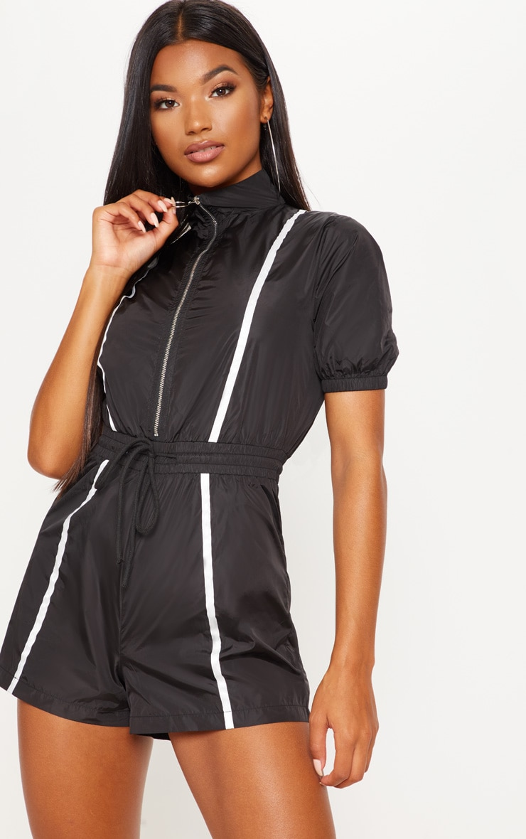 Monochrome Shell Zip Up Playsuit  3