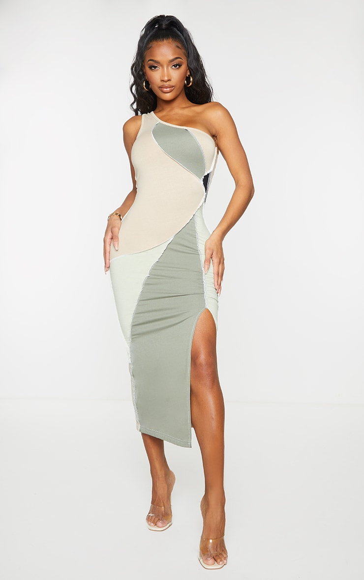Shape Sage Green Cotton Panel Detail One Shoulder Ruched Midaxi Dress 1