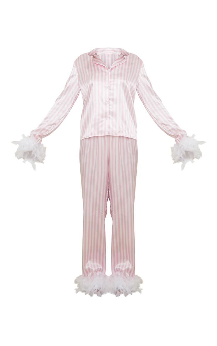 Pink Stripe Feather Trim Detail Satin Long PJ Set 5
