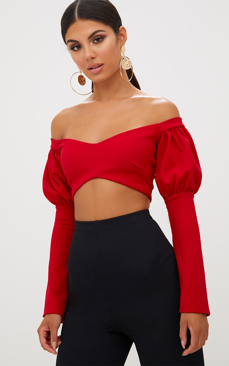 Red Puff Sleeve Bardot Crop Top 2