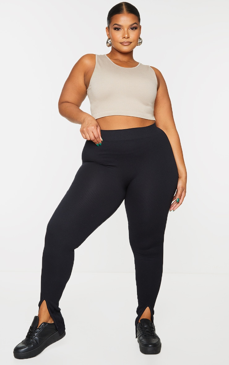 Plus Black Structured Contour Rib Split Hem Leggings 1