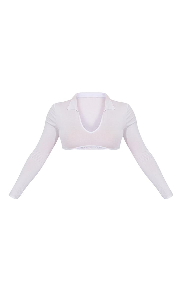 White Jersey Collar Curve Hem Underbust Crop Top 5