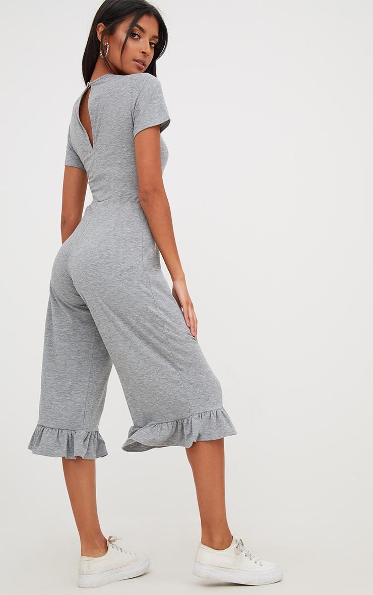 Grey Marl Jersey Short Sleeve Frill Hem Culotte Jumpsuit 2